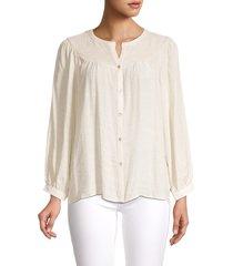 nanette nanette lepore women's split neck long-sleeve shirt - stone - size l
