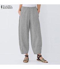 zanzea elástico de las mujeres de la cintura casual pantalones harem largas y anchas piernas del pantalón holgado -negro