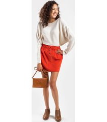 corina button paperbag mini skirt - red