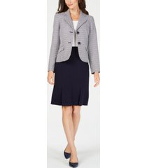 le suit two-button tweed & solid skirt suit