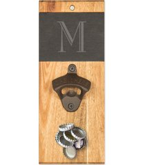 cathy's concepts personalized slate & acacia wall mount bottle opener with magnetic cap catcher
