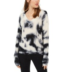 hooked up by iot juniors' tie-dyed pullover sweater