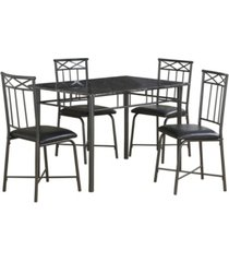 monarch specialties 5 piece leather look dining set