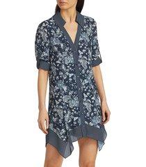 alice + olivia women's connor roll handkerchief shirtdress - blue multi - size xs