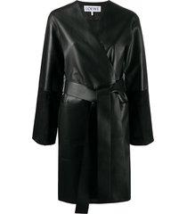 loewe belted mid-length coat - black