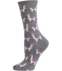 memoi women's llamas crew socks
