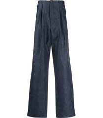société anonyme chambray loose fit trousers - blue