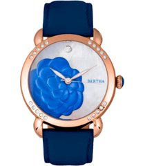 bertha quartz daphne collection rose gold and blue leather watch 38mm