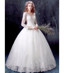 new lace wedding dress bridal gown bead v neck size 2 4 6 8 10 12 14  bohemian