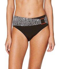 high-waist print-sash bikini bottoms