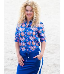 mooi vrolijk blouse flashy blue flowers