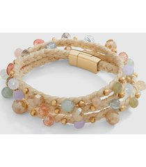 lane bryant women's beaded wrap bracelet onesz seashell pink
