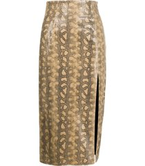 16arlington snakeskin-print leather pencil skirt - brown