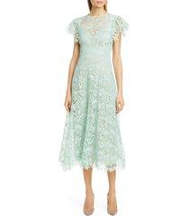 women's lela rose wildflower guipure lace dress, size 20 - green