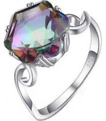 anillo gran topaz hexagonal plata arany joyas
