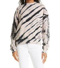 proenza schouler white label tie dye sweatshirt, size small in black/ecru at nordstrom