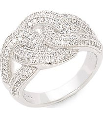 platinum-bonded sterling silver & simulated diamond twist ring