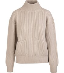 fedeli woman turtleneck sweater in beige ribbed cashmere with pockets