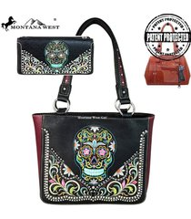 4 colors sugar skull concealed carry montana west tote bag wallet set