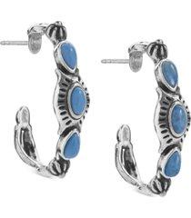 american west lapis lazuli hoop earrings in sterling silver