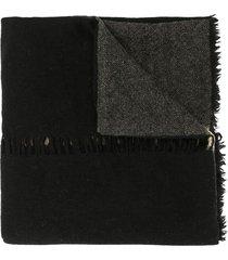 uma wang panelled wool scarf - black