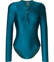 duskii océane sleek long sleeve one piece - blue