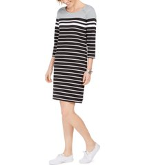 karen scott sport striped grommet-shoulder shift dress, created for macy's