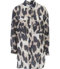 silk linen oversized coat animalier