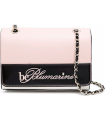be blumarine logo-embroidered shoulder bag - pink