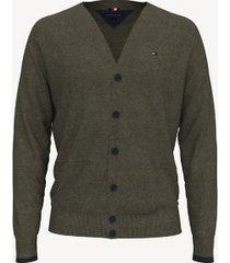tommy hilfiger men's essential contrast cardigan army green - xxxl