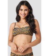 trendyol leopard patterned bandeau bikini top - multicolor