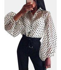 camicetta a maniche lunghe trasparente a pois per donna
