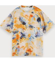 scotch & soda katoenen tie-dye t-shirt met korte mouwen