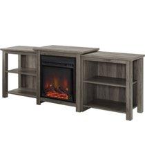 "walker edison 70"" tiered top open shelf fireplace tv console"