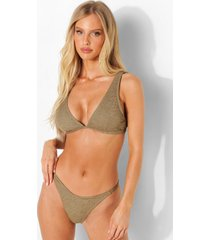 gekreukelde bikini top met laag decolleté en vollere cups, light khaki