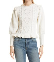 women's loveshackfancy calantha cable sweater, size large - pink