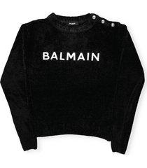 balmain logo velvet sweater