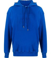 opening ceremony embossed box logo slim-fit hoodie - blue