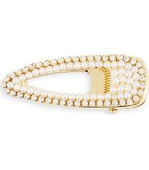 crystal & faux pearl-embellished metal hair clip