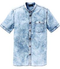 camicia di jeans a maniche corte slim fit (blu) - rainbow