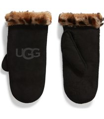 women's ugg genuine shearling trim leather mittens, size large/x-large - black