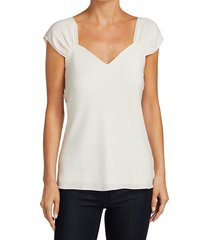theory women's gathered-sleeve silk top - ivory - size xl