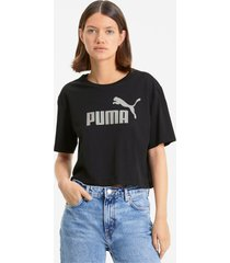 essentials+ metallic cropped t-shirt voor dames, zilver/zwart, maat m | puma