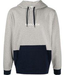 woolrich two tone hoodie - grey