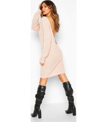 v back fisherman oversized sweater dress, blush