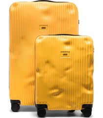 crash baggage cabin suitcase set - yellow