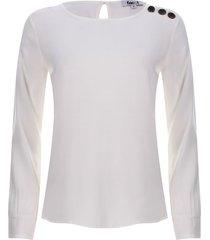 blusa botones en hombro color blanco, talla 10