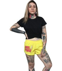 shorts feminino chess clothing girl power amarelo