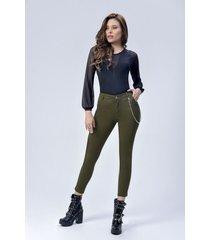pantalón dril dama verde di bello jeans ® classic jeans ref d961