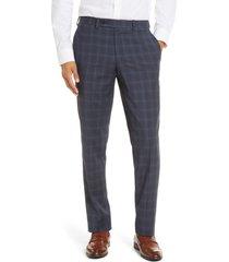 men's ted baker london jefferson trim fit plaid wool dress pants, size 34 x unhemmed - grey